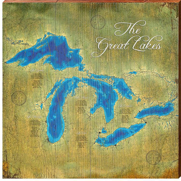 The Great Lakes Topographical Styled Chart Square-Mill Wood Art