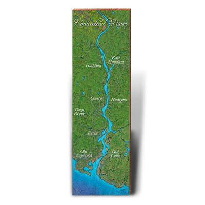 Towns Along the Connecticut River Satellite Styled Map Wall Art-Mill Wood Art