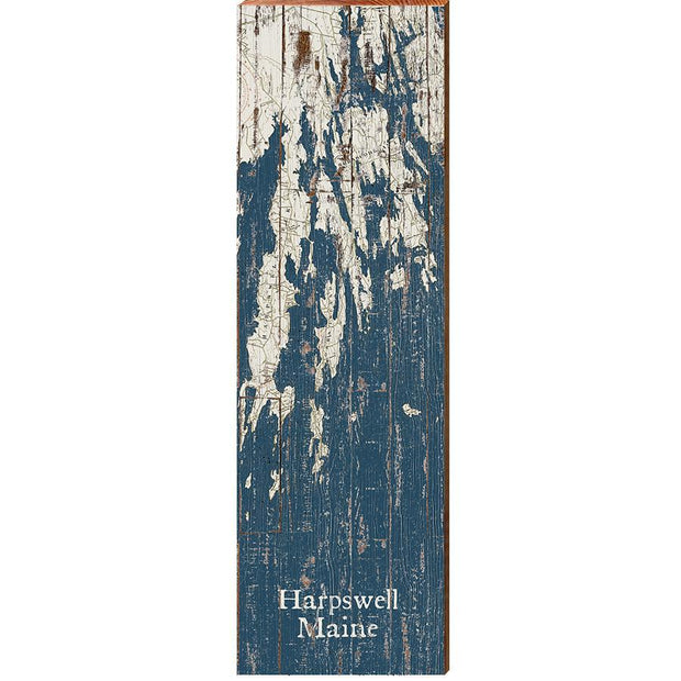 Harpswell, Maine Navy & White Shabby Styled Map Wall Art-Mill Wood Art