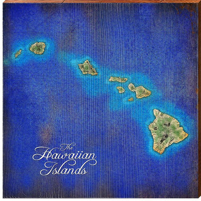 The Hawaiian Islands Topographical Styled Chart Square-Mill Wood Art