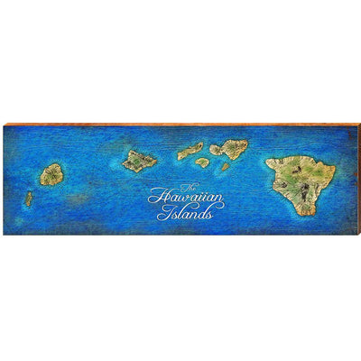 The Hawaiian Islands Topographical Styled Chart-Mill Wood Art
