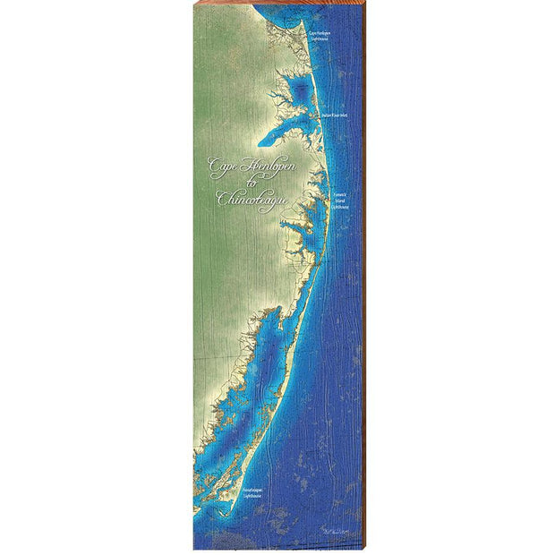 Cape Henlopen to Chincoteague Topographical Styled Map Wall Art-Mill Wood Art