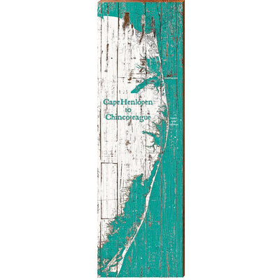 Cape Henlopen to Chincoteague Teal & White Shabby Map Wall Art-Mill Wood Art