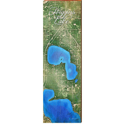 Higgins Lake, Michigan Satellite Styled Map Wall Art-Mill Wood Art