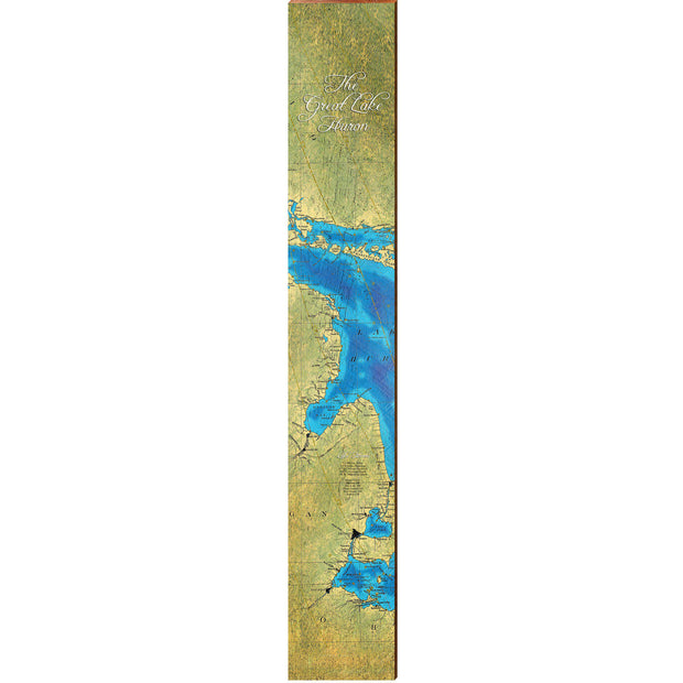 "Lake Huron Topographical Styled Chart Large | Size: 9.5"" x 60""-Mill Wood Art"