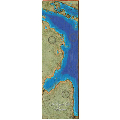 Lake Huron Topographical Styled Chart-Mill Wood Art