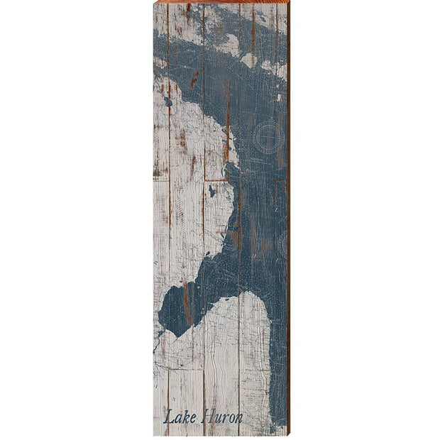Lake Huron Navy & White Shabby Styled Chart-Mill Wood Art