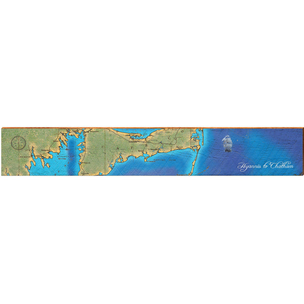 "Hyannis to Chatham, Massachusetts Topographical Styled Chart Large | Size: 9.5"" x 60""-Mill Wood Art"
