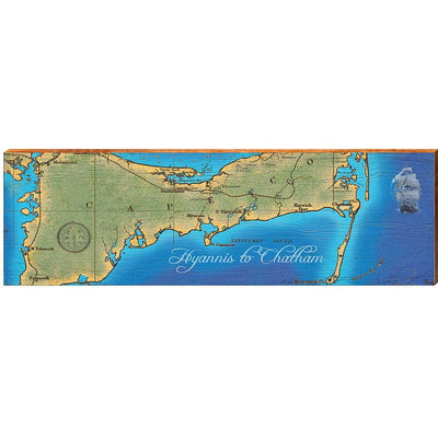 Hyannis to Chatham, Massachusetts Topographical Styled Chart-Mill Wood Art