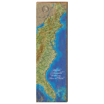 Atlantic Intracoastal Waterway Maine to Florida Topographical Chart-Mill Wood Art