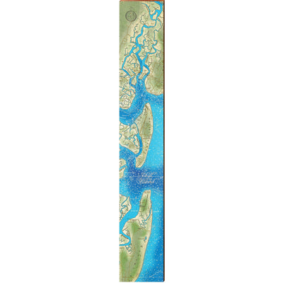 "Jekyll Island, Georgia Topographical Styled Map Large | Size: 9.5"" x 60"" Wall Art-Mill Wood Art"