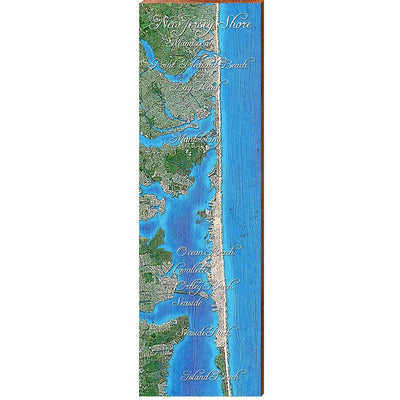 "New Jersey Shore with Names Map Home Decor Art Print on Real Wood (9.5""x30"") Wall Art-Mill Wood Art"