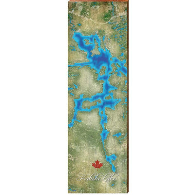 Kahshe Lake, Canada Satellite Map Wall Art-Mill Wood Art