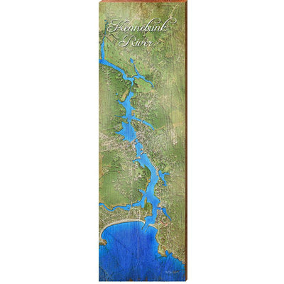 Kennebunk River, Maine Satellite Styled Map Wall Art-Mill Wood Art