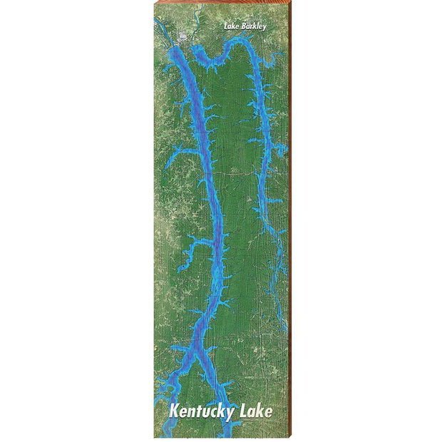Kentucky Lake & Lake Barkley, Kentucky Satellite Styled Chart-Mill Wood Art