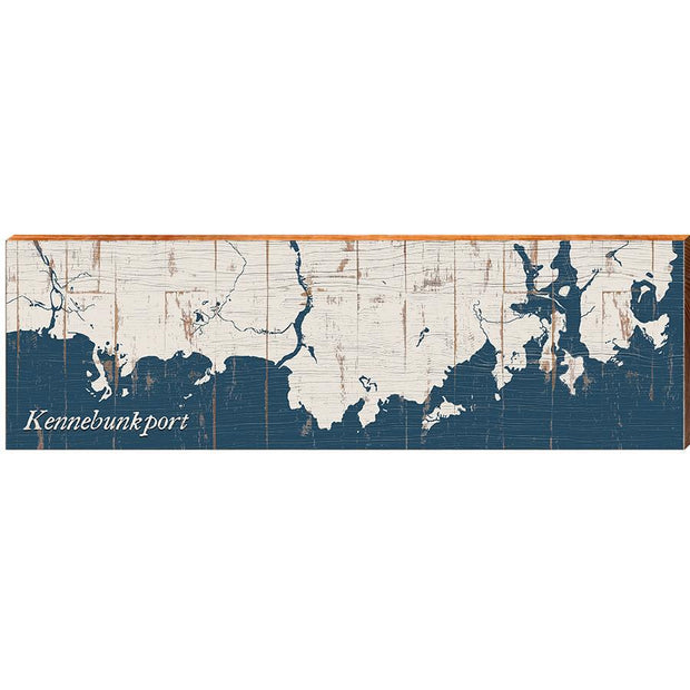 Kennebunkport, Maine Navy & White Shabby Styled Map Wall Art-Mill Wood Art
