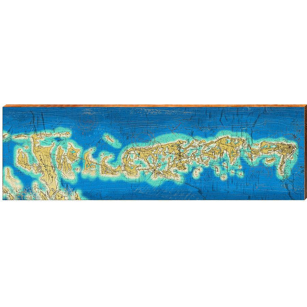 Big Pine Key to Key West, Florida Topographical Styled Map Wall Art-Mill Wood Art