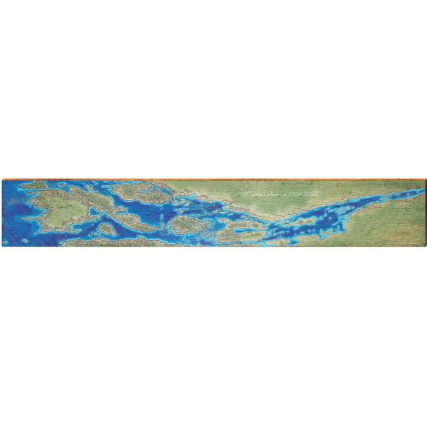 "St. Lawrence River to 1000 Islands, Canada Satellite Map Large | Size: 9.5"" x 60"" Wall Art-Mill Wood Art"