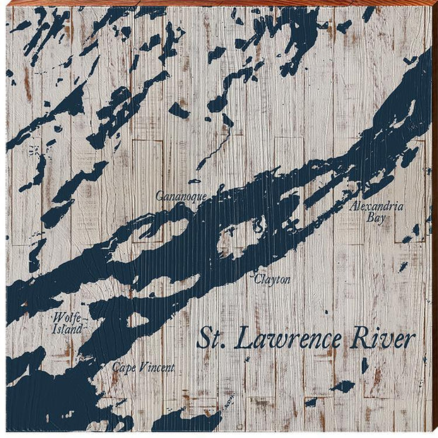 St. Lawrence River, Canada Navy & White Shabby Map Wall Art-Mill Wood Art