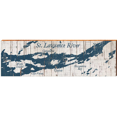"MILL WOOD ART St. Lawrence River Shabby Map Home Decor Art Print on Real Wood (9.5""x30"") Wall Art-Mill Wood Art"