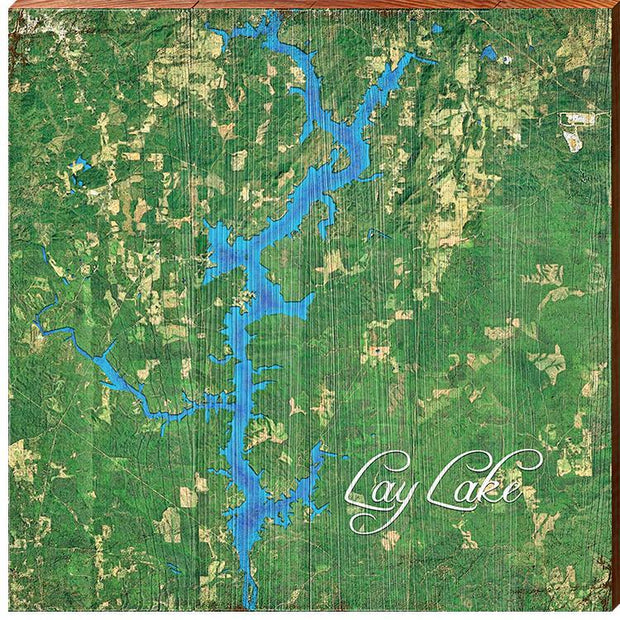 Lay Lake, Alabama Satellite Map Wall Art-Mill Wood Art