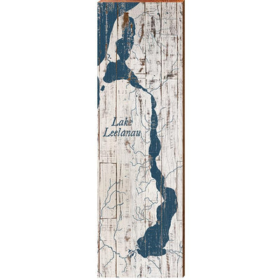 Lake Leelanau, Michigan Navy & White Shabby Styled Map Wall Art-Mill Wood Art