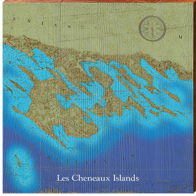 Les Cheneaux Islands, Michigan Topographical Styled Map Square Wall Art-Mill Wood Art