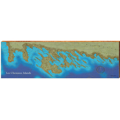 Les Cheneaux Islands, Michigan Topographical Styled Map Wall Art-Mill Wood Art