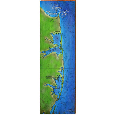 Lewes to Ocean City Topographical Styled Map Wall Art-Mill Wood Art