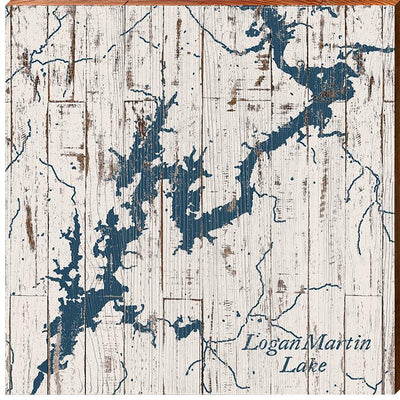 Logan Martin Lake, Alabama Navy & White Shabby Map Wall Art-Mill Wood Art