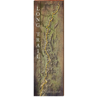 "MILL WOOD ART Long Trail, Vermont Map Home Decor Art Print on Real Wood (9.5""x30"") Wall Art-Mill Wood Art"