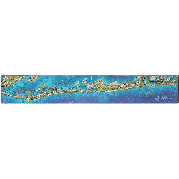 "Longboat Key, Florida Topographical Styled Map Large | Size: 9.5"" x 60"" Wall Art-Mill Wood Art"
