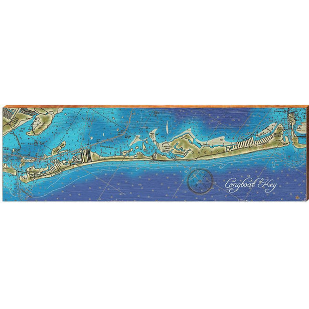 Longboat Key, Florida Topographical Styled Map Wall Art-Mill Wood Art
