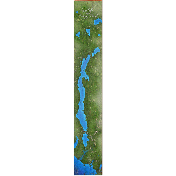 "Long Lake and Brandy Pond, Maine Satellite Styled Map Large | Size: 9.5"" x 60"" Wall Art-Mill Wood Art"