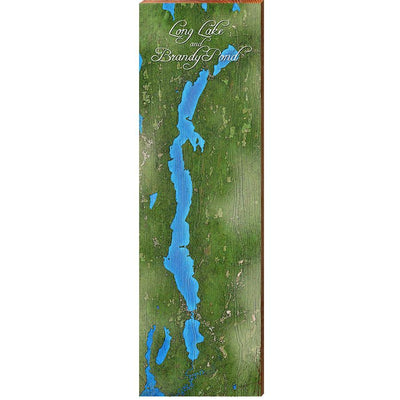 Long Lake and Brandy Pond, Maine Satellite Styled Map Wall Art-Mill Wood Art