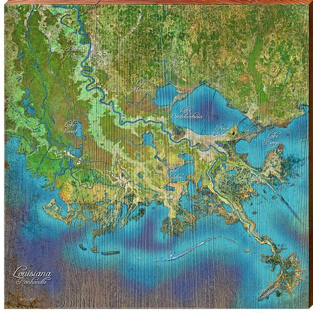 The Louisiana Panhandle Satellite Styled Map Square Wall Art-Mill Wood Art
