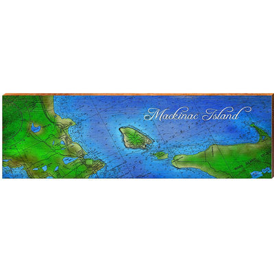 Mackinac Island, Michigan Topographical Styled Map Wall Art-Mill Wood Art