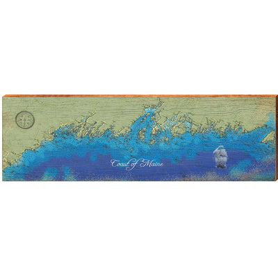 Maine Coastline Topographical Chart Horizontal-Mill Wood Art
