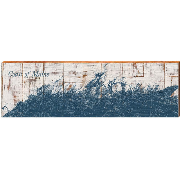 Coast of Maine Navy & White Shabby Styled Chart Horizontal-Mill Wood Art