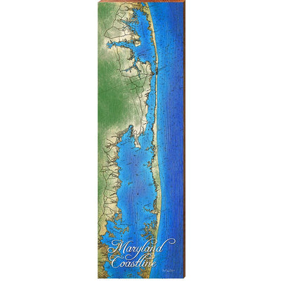 Maryland Coast - Assawoman Bay to Jonhson Bay Topographical Styled Chart-Mill Wood Art