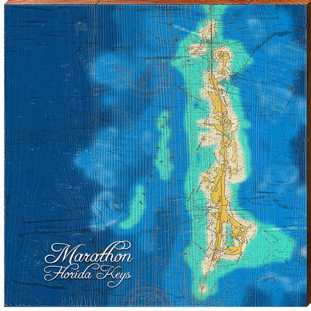 Marathon, Florida Keys Topographical Styled Map Square Wall Art-Mill Wood Art