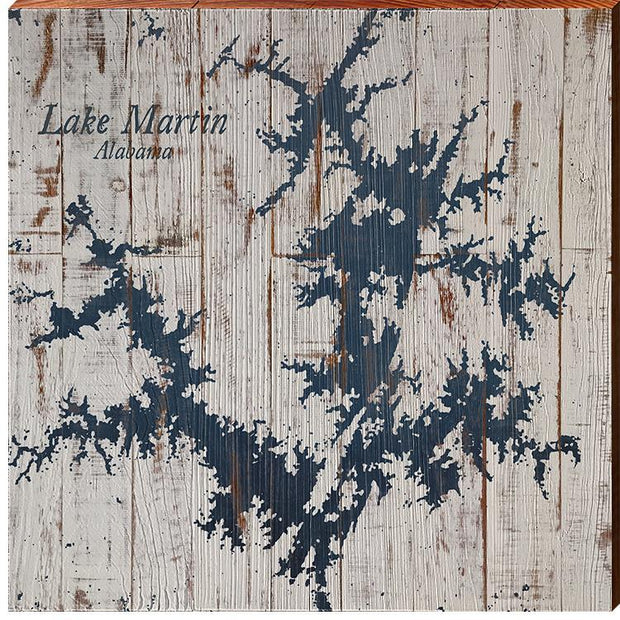 Lake Martin, Alabama Navy & White Shabby Map Wall Art-Mill Wood Art