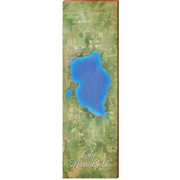Lake Maxinkuckee, Indiana Satellite Styled Map Wall Art-Mill Wood Art