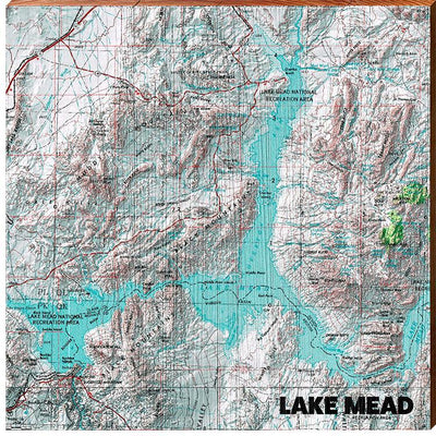 Lake Mead, Arizona & Nevada Teal & White Topographic Map-Mill Wood Art