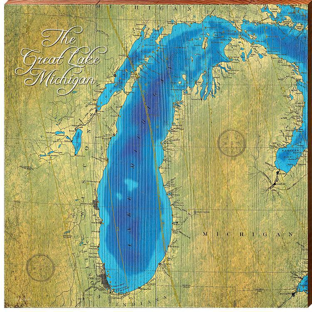 Lake Michigan Topographical Styled Chart Square-Mill Wood Art