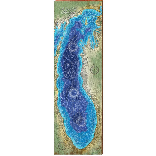 Lake Michigan Topographical Styled Chart-Mill Wood Art