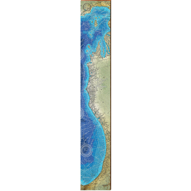 "Lake Michigan, Michigan Coast Topographical Styled Chart Large | Size: 9.5"" x 60""-Mill Wood Art"