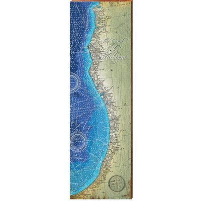 Lake Michigan, Michigan Coast Topographical Styled Chart-Mill Wood Art