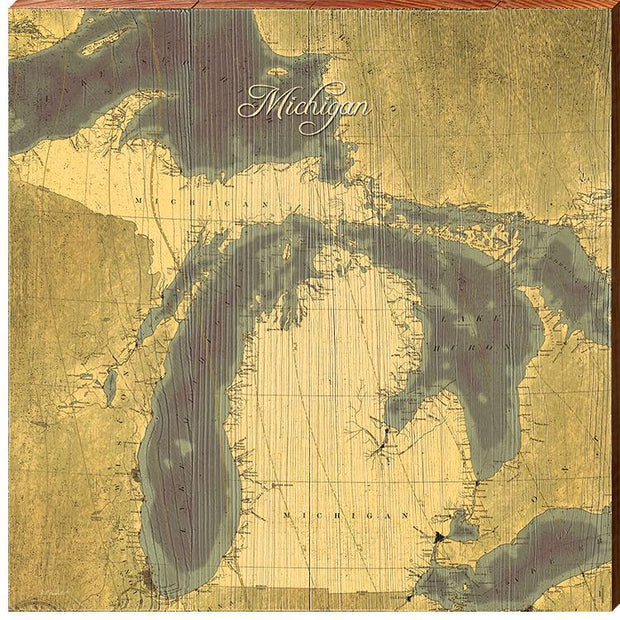 State Of Michigan Antique Styled Map Square Wall Art-Mill Wood Art