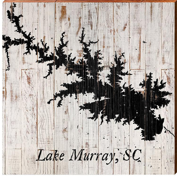 Lake Murray, South Carolina Navy & White Shabby Map-Mill Wood Art